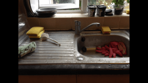 kitchen sink before cleaning